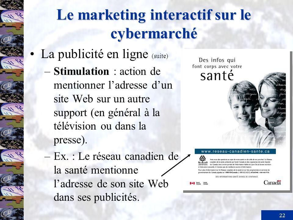 22 Le marketing interactif sur le cybermarché La publicité en ligne (suite) –Stimulation : action de mentionner ladresse dun site Web sur un autre sup