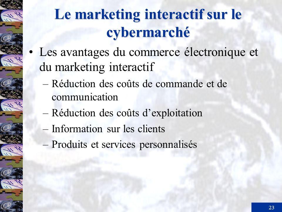 23 Le marketing interactif sur le cybermarché Les avantages du commerce électronique et du marketing interactif –Réduction des coûts de commande et de