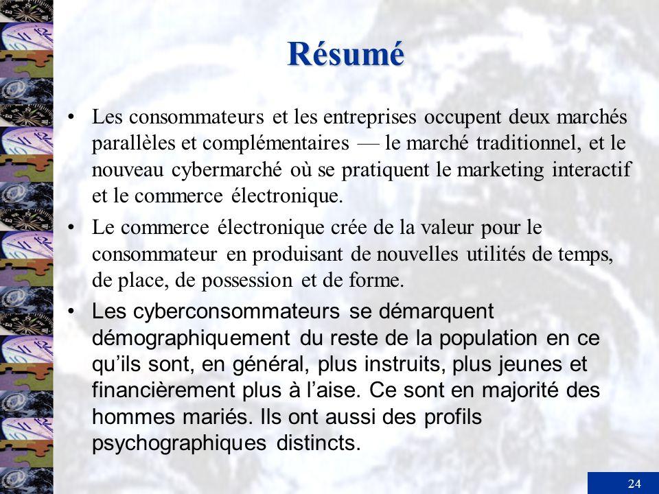 24 Résumé Les consommateurs et les entreprises occupent deux marchés parallèles et complémentaires le marché traditionnel, et le nouveau cybermarché o