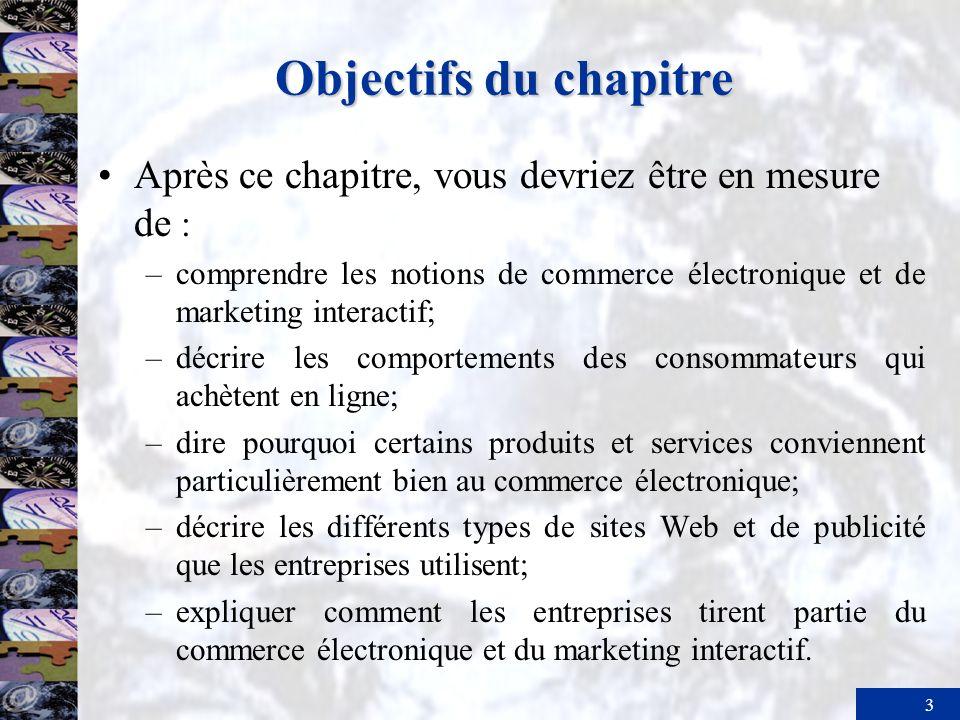 3 Objectifs du chapitre Après ce chapitre, vous devriez être en mesure de : –comprendre les notions de commerce électronique et de marketing interacti