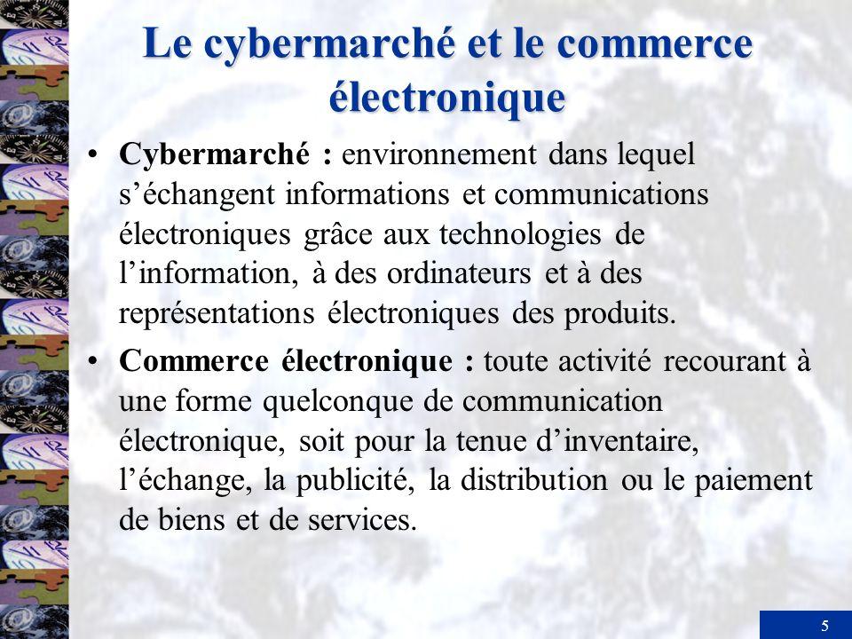 5 Le cybermarché et le commerce électronique Cybermarché : environnement dans lequel séchangent informations et communications électroniques grâce aux