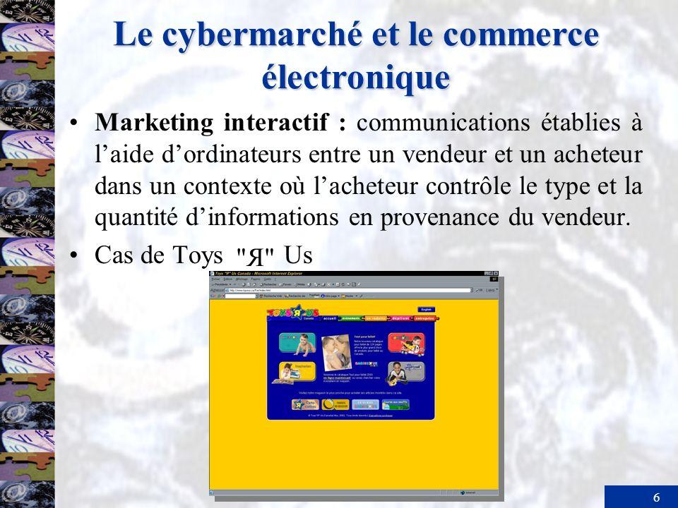 6 Le cybermarché et le commerce électronique Marketing interactif : communications établies à laide dordinateurs entre un vendeur et un acheteur dans