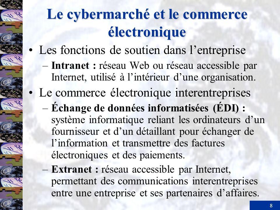 8 Le cybermarché et le commerce électronique Les fonctions de soutien dans lentreprise –Intranet : réseau Web ou réseau accessible par Internet, utili
