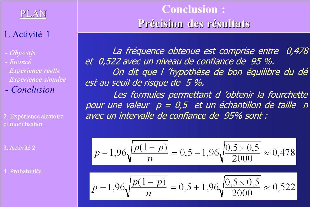 Le nombre obtenu est appelé probabilité de réalisation de lévénement A : « obtenir Pile ». On a : P( A ) = 0,5 La modélisation permet ainsi de choisir