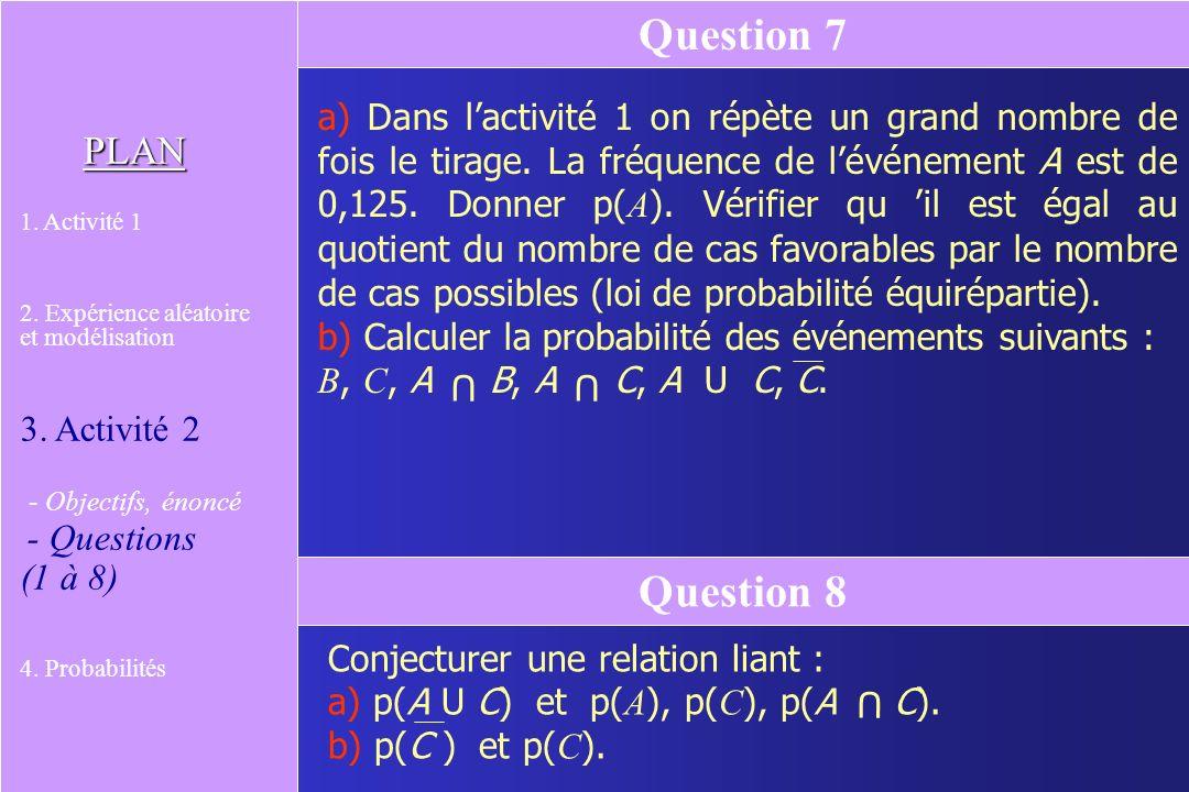 On note A U C lévénement A ou C. Expliciter par une phrase lévénement A U C. Donner la liste de ses éventualités. Question 4 PLAN 1. Activité 1 2. Exp