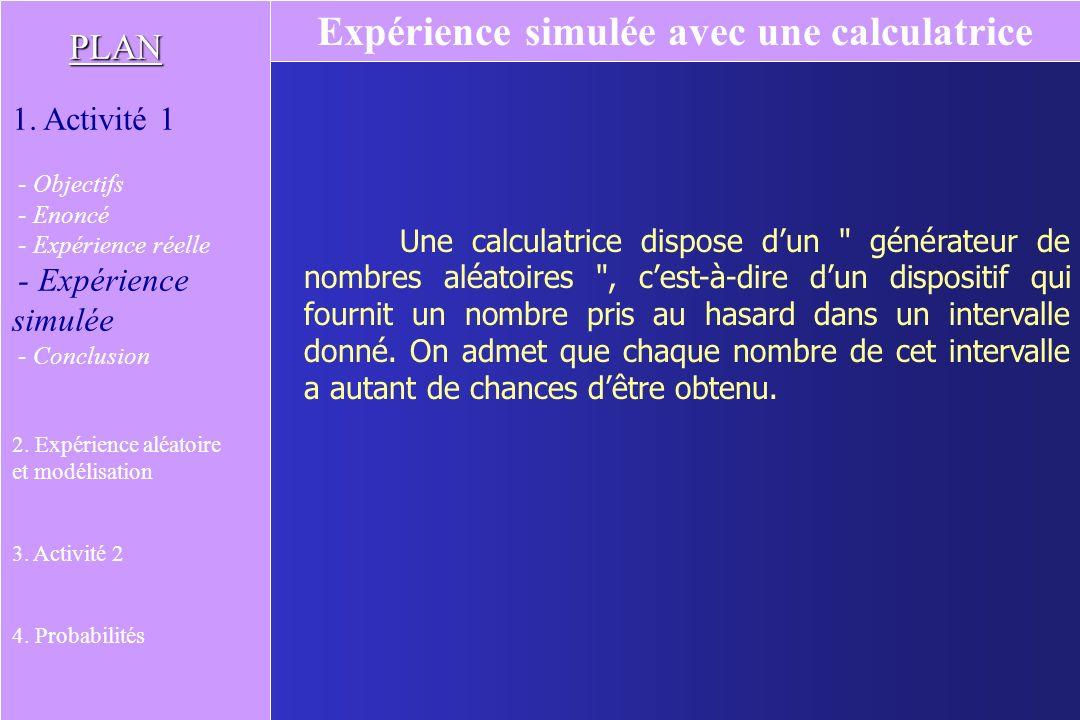 Une calculatrice dispose dun générateur de nombres aléatoires , cest-à-dire dun dispositif qui fournit un nombre pris au hasard dans un intervalle donné.