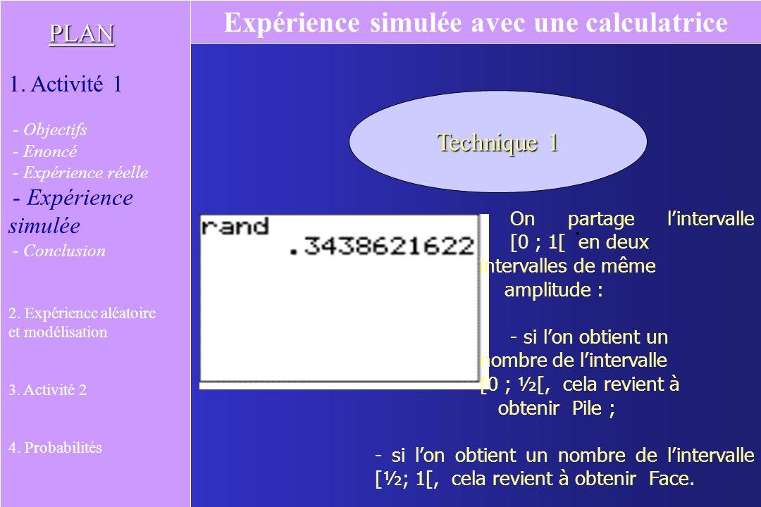 Technique 1 On partage lintervalle [0 ; 1[ en deux intervalles de même amplitude : - si lon obtient un nombre de lintervalle [0 ; ½[, cela revient à obtenir Pile ; - si lon obtient un nombre de lintervalle [½; 1[, cela revient à obtenir Face.