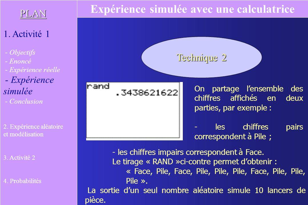 On partage lensemble des chiffres affichés en deux parties, par exemple : - les chiffres pairs correspondent à Pile ; - les chiffres impairs correspondent à Face.