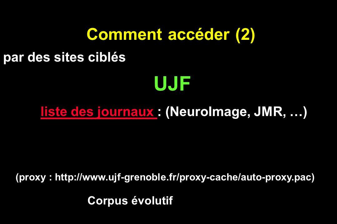 Comment accéder (2) UJF liste des journaux liste des journaux : (NeuroImage, JMR, …) Corpus évolutif (proxy : http://www.ujf-grenoble.fr/proxy-cache/a
