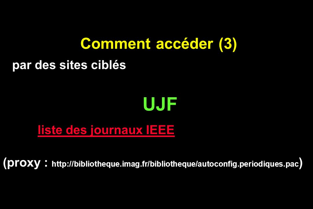 Comment accéder (4) U438 liste des journaux liste des journaux : NRM in BioMedicine, Cerebral Cortex, Concepts in MR, NeuroReport (de ares + pwd) Corpus en diminution Envoi de sommaires automatisé (proxy : aucun) par des sites ciblés