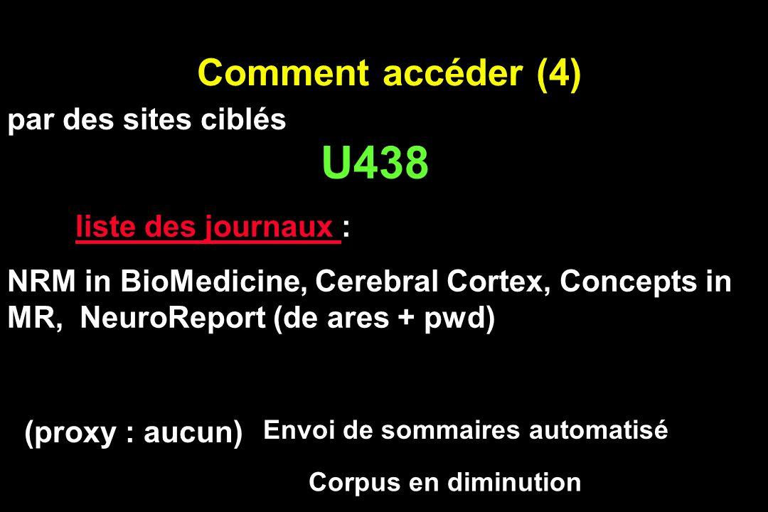 Comment accéder (4) U438 liste des journaux liste des journaux : NRM in BioMedicine, Cerebral Cortex, Concepts in MR, NeuroReport (de ares + pwd) Corp