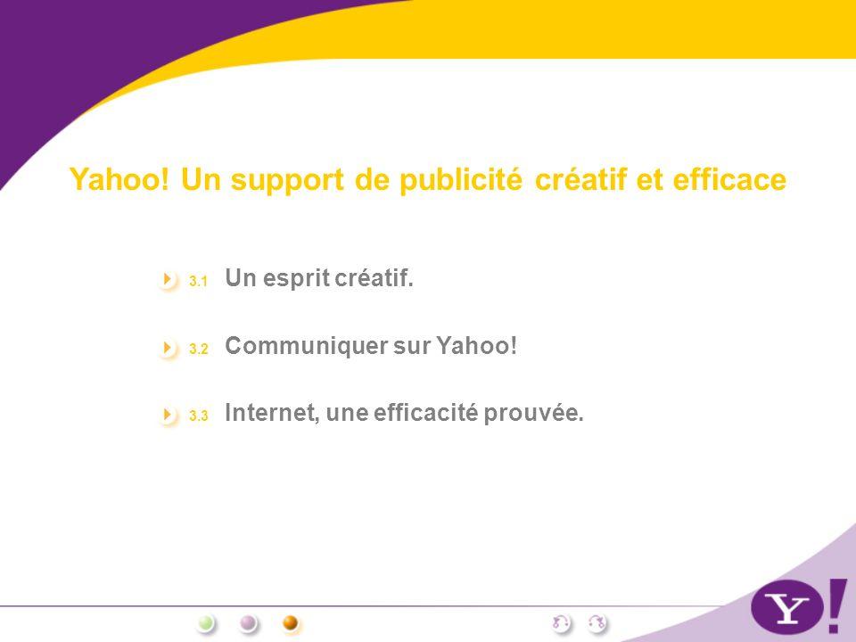 Yahoo! Un support de publicité créatif et efficace 3.1 Un esprit créatif. 3.2 Communiquer sur Yahoo! 3.3 Internet, une efficacité prouvée.