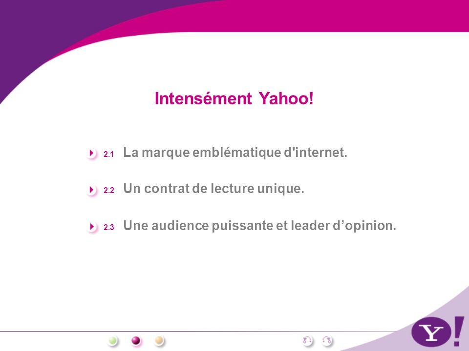 Intensément Yahoo! 2.1 La marque emblématique d'internet. 2.2 Un contrat de lecture unique. 2.3 Une audience puissante et leader dopinion.