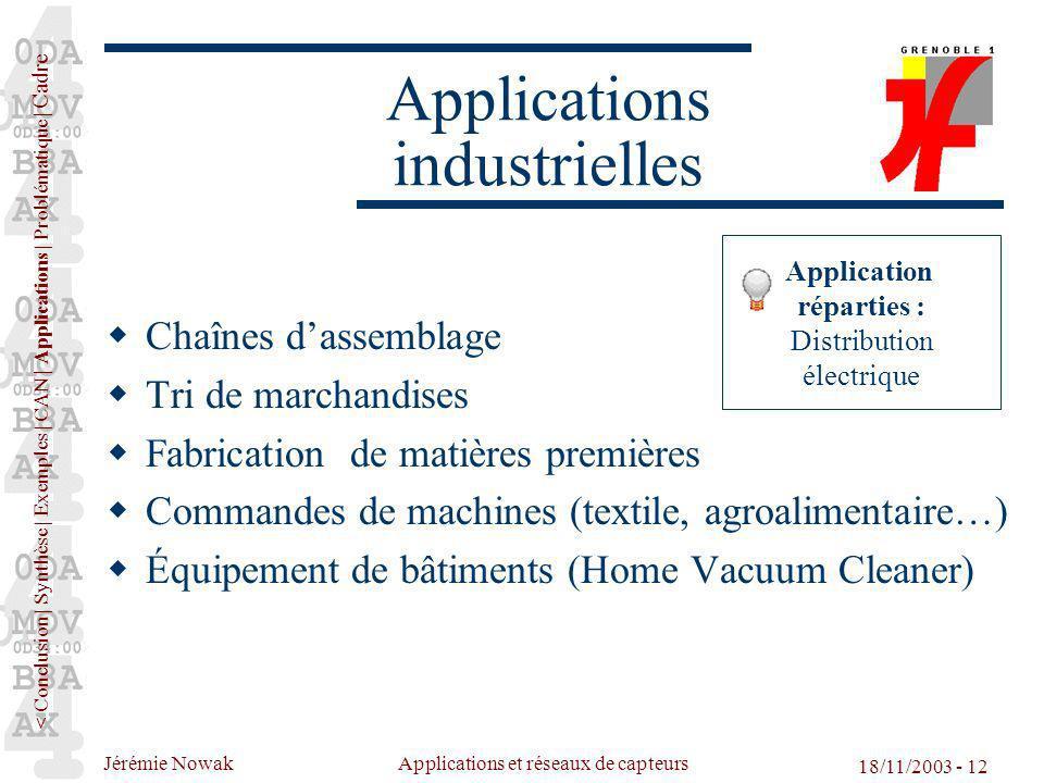 Jérémie Nowak Applications et réseaux de capteurs 18/11/2003 - 12 Chaînes dassemblage Tri de marchandises Fabrication de matières premières Commandes