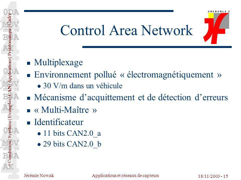 Jérémie Nowak Applications et réseaux de capteurs 18/11/2003 - 15 Control Area Network Multiplexage Environnement pollué « électromagnétiquement » 30