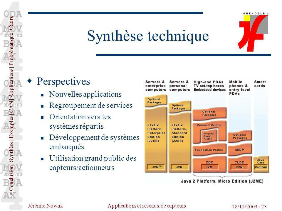 Jérémie Nowak Applications et réseaux de capteurs 18/11/2003 - 23 Synthèse technique Perspectives Nouvelles applications Regroupement de services Orie