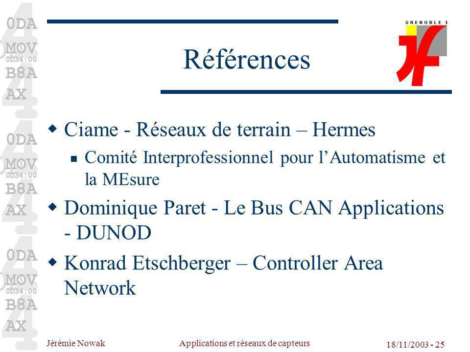 Jérémie Nowak Applications et réseaux de capteurs 18/11/2003 - 25 Références Ciame - Réseaux de terrain – Hermes Comité Interprofessionnel pour lAutom