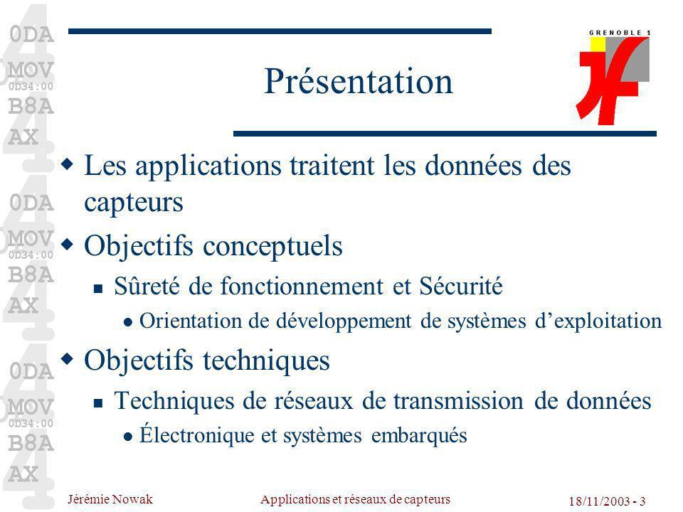 Jérémie Nowak Applications et réseaux de capteurs 18/11/2003 - 3 Présentation Les applications traitent les données des capteurs Objectifs conceptuels
