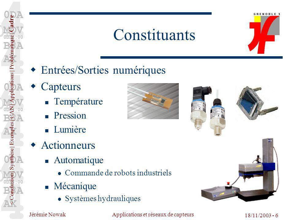 Jérémie Nowak Applications et réseaux de capteurs 18/11/2003 - 6 Constituants Entrées/Sorties numériques Capteurs Température Pression Lumière Actionn