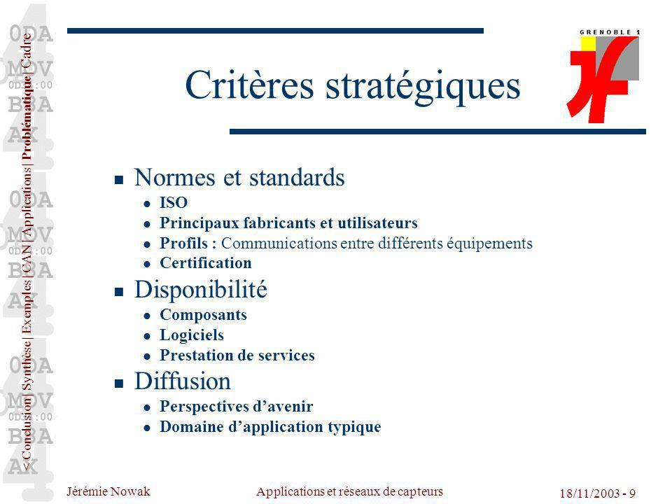 Jérémie Nowak Applications et réseaux de capteurs 18/11/2003 - 9 Critères stratégiques Normes et standards ISO Principaux fabricants et utilisateurs P