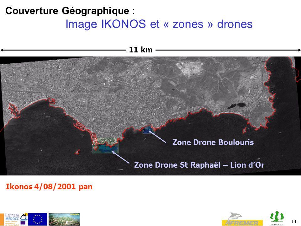 11 11 km Couverture Géographique : Image IKONOS et « zones » drones Ikonos 4/08/2001 pan Zone Drone St Raphaël – Lion dOr Zone Drone Boulouris