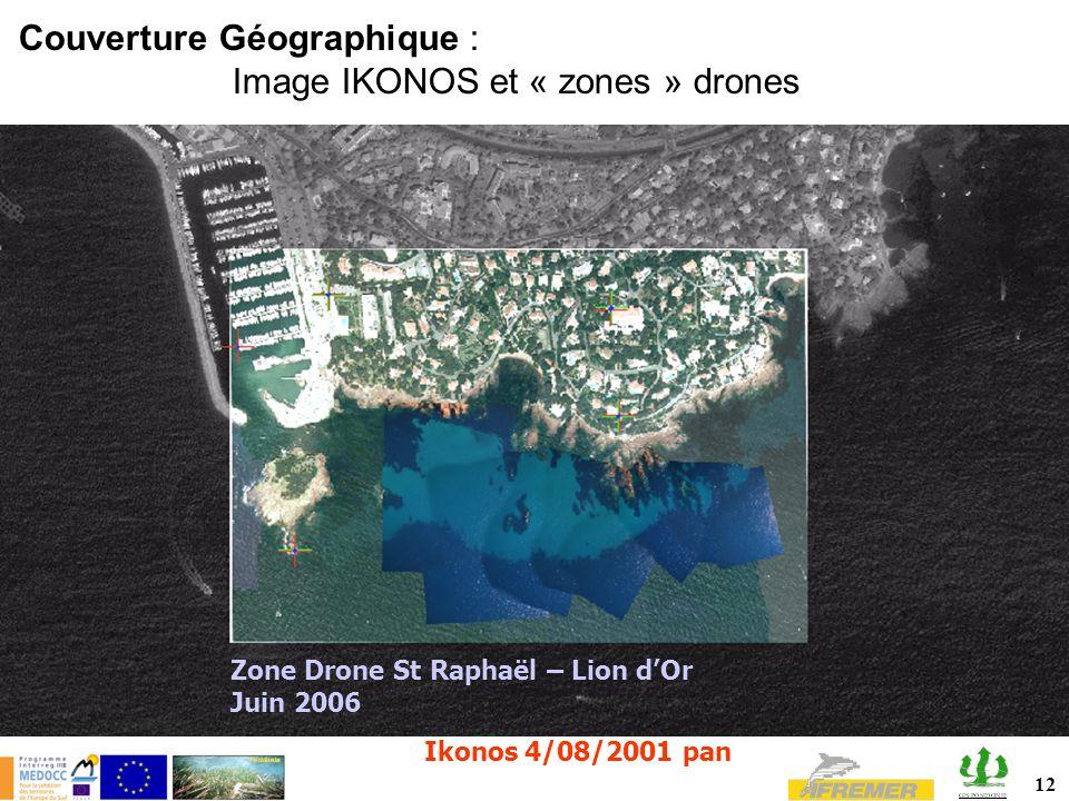 12 Couverture Géographique : Image IKONOS et « zones » drones Zone Drone St Raphaël – Lion dOr Juin 2006 Ikonos 4/08/2001 pan