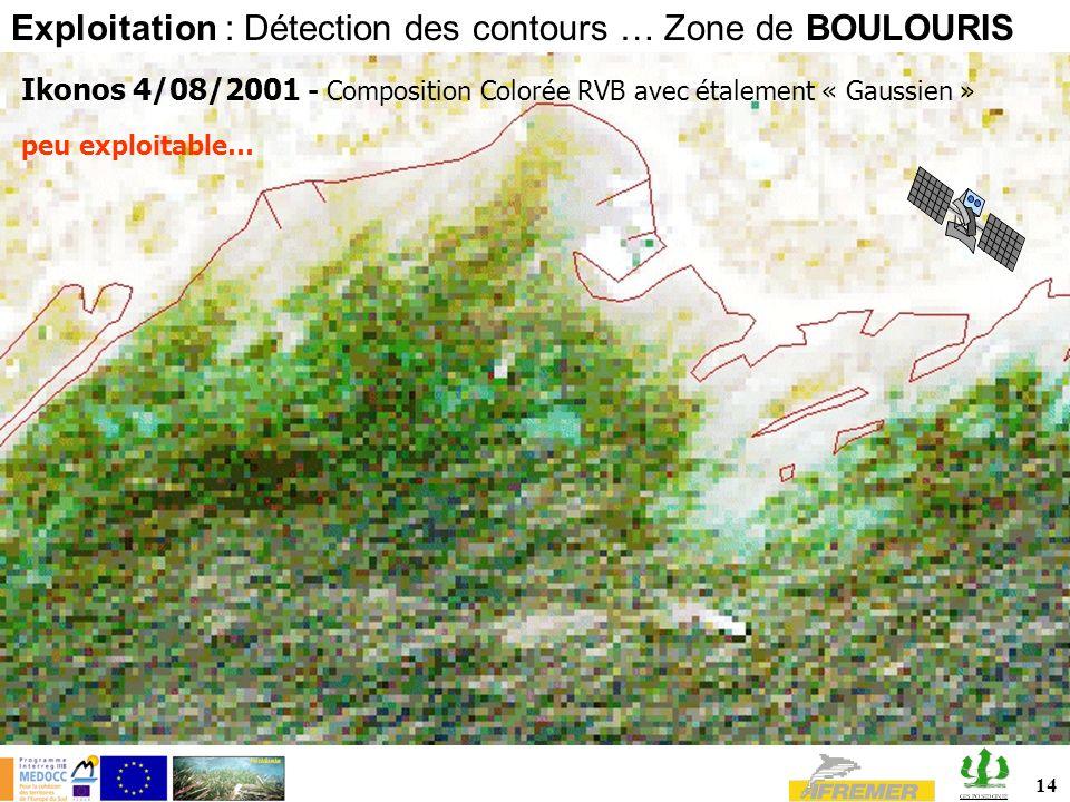14 Ikonos 4/08/2001 - Composition Colorée RVB avec étalement « Gaussien » Exploitation : Détection des contours … Zone de BOULOURIS peu exploitable…