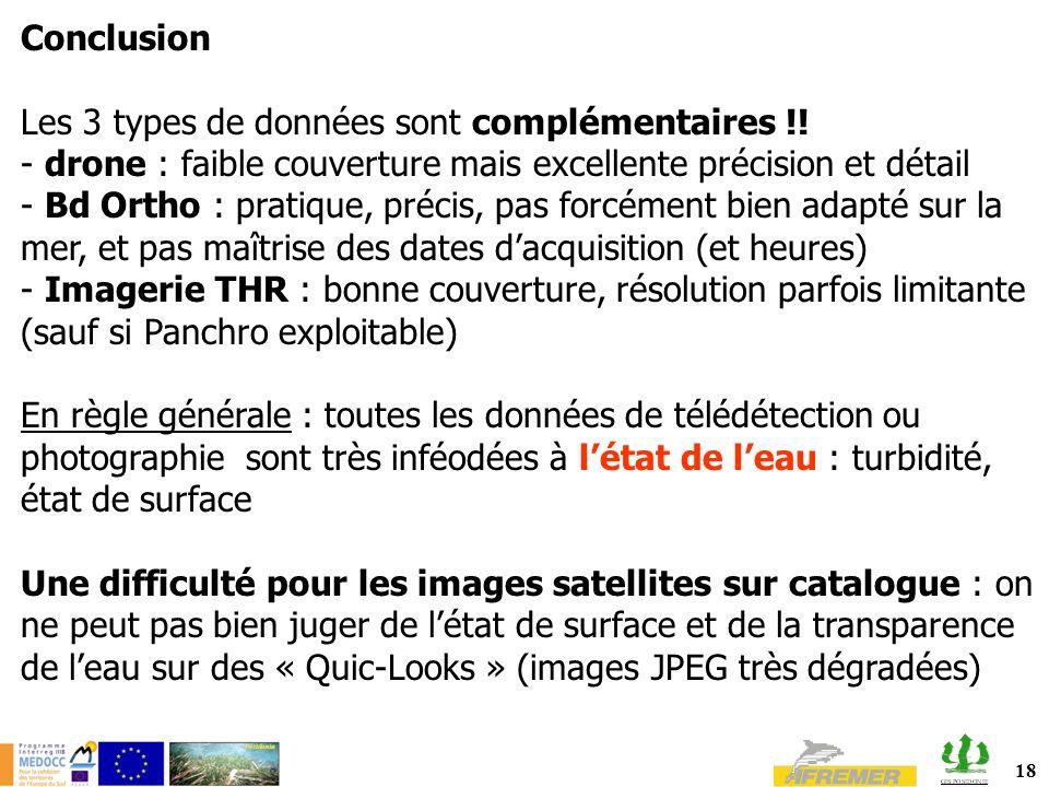 18 Conclusion Les 3 types de données sont complémentaires !! - drone : faible couverture mais excellente précision et détail - Bd Ortho : pratique, pr