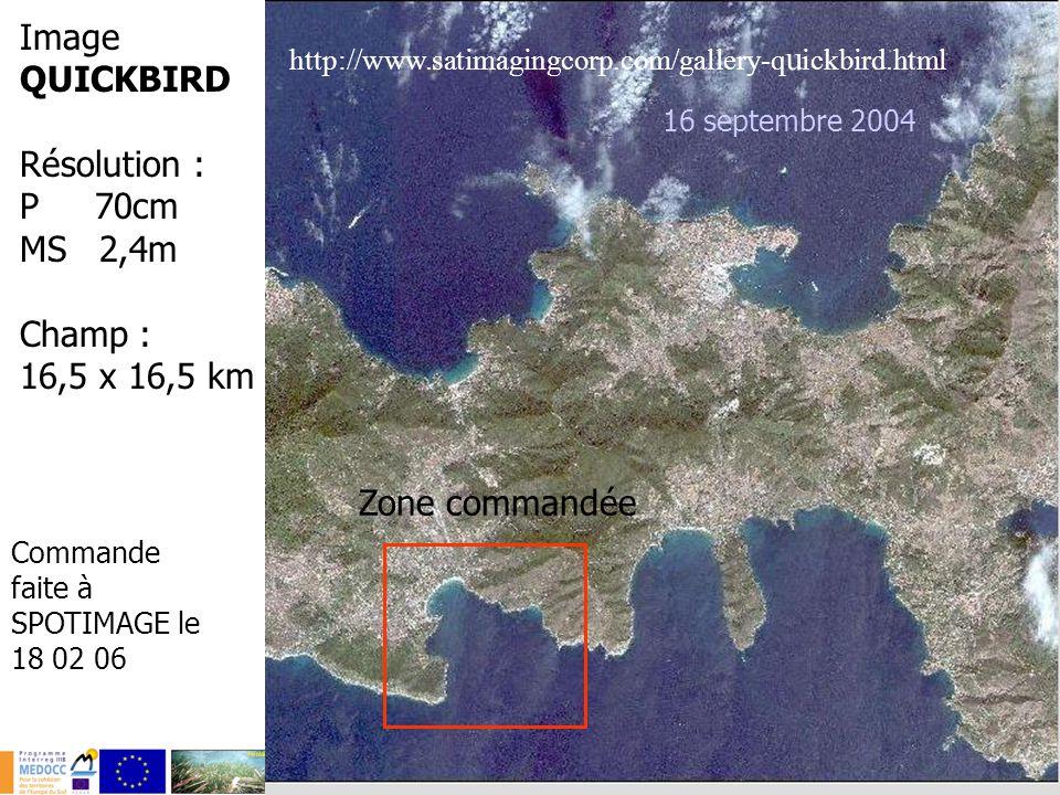 20 Image QUICKBIRD Résolution : P 70cm MS 2,4m Champ : 16,5 x 16,5 km 16 septembre 2004 http://www.satimagingcorp.com/gallery-q u ickbird.html Zone co