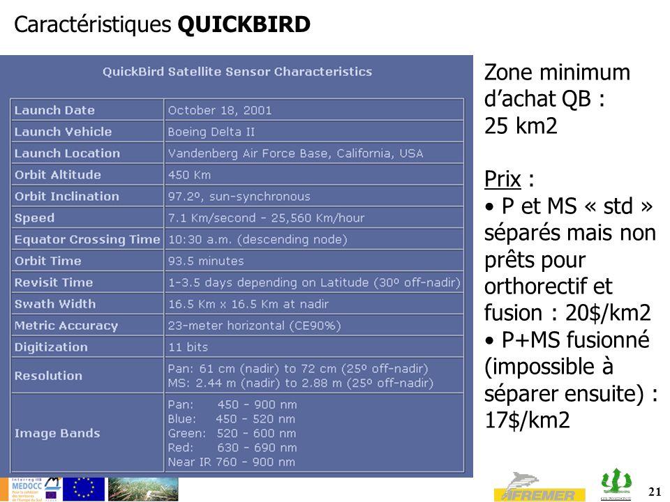 21 Caractéristiques QUICKBIRD Zone minimum dachat QB : 25 km2 Prix : P et MS « std » séparés mais non prêts pour orthorectif et fusion : 20$/km2 P+MS fusionné (impossible à séparer ensuite) : 17$/km2