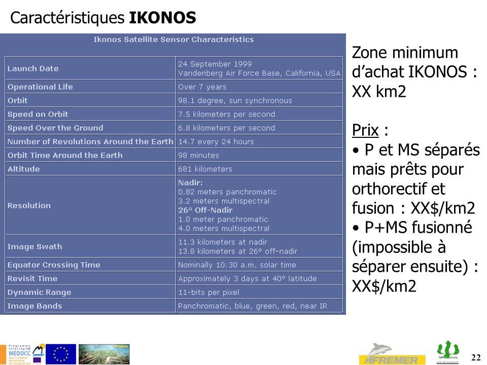 22 Caractéristiques IKONOS Zone minimum dachat IKONOS : XX km2 Prix : P et MS séparés mais prêts pour orthorectif et fusion : XX$/km2 P+MS fusionné (impossible à séparer ensuite) : XX$/km2