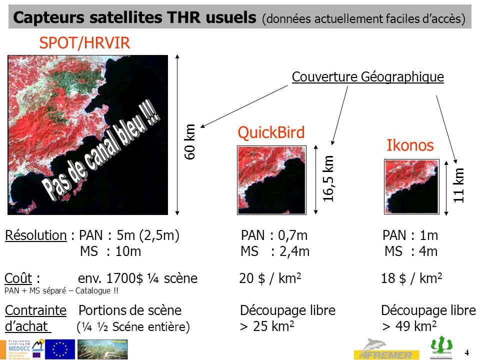 4 Capteurs satellites THR usuels (données actuellement faciles daccès) Résolution : PAN : 5m (2,5m) PAN : 0,7m PAN : 1m MS : 10m MS : 2,4m MS : 4m Coût : env.