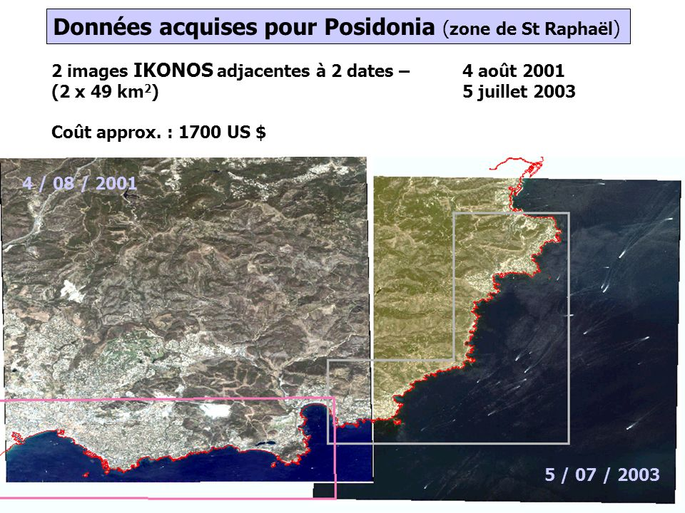 7 2 images IKONOS adjacentes à 2 dates – 4 août 2001 (2 x 49 km 2 )5 juillet 2003 Coût approx. : 1700 US $ 4 / 08 / 2001 5 / 07 / 2003 Données acquise
