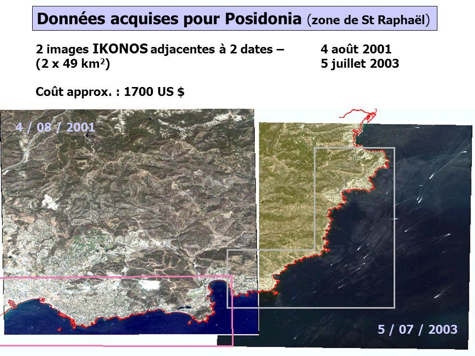7 2 images IKONOS adjacentes à 2 dates – 4 août 2001 (2 x 49 km 2 )5 juillet 2003 Coût approx.
