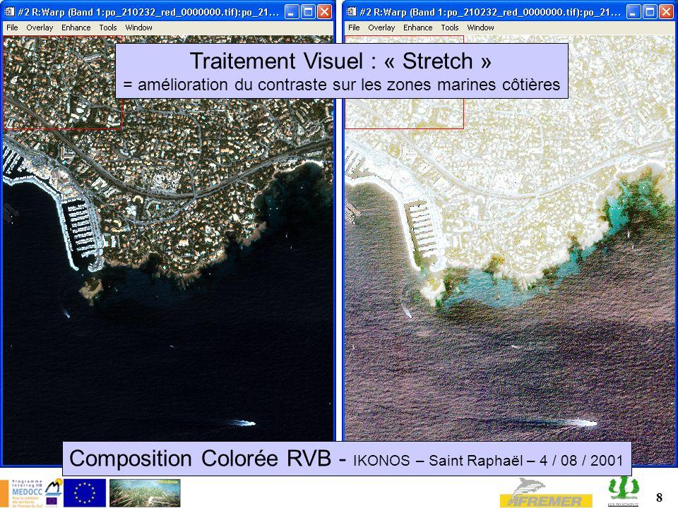 8 Composition Colorée RVB - IKONOS – Saint Raphaël – 4 / 08 / 2001 Traitement Visuel : « Stretch » = amélioration du contraste sur les zones marines côtières