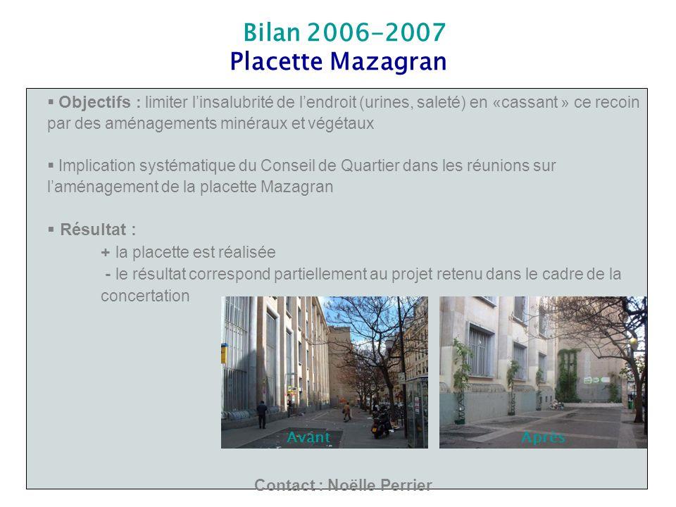 Bilan 2006-2007 Placette Mazagran Objectifs : limiter linsalubrité de lendroit (urines, saleté) en «cassant » ce recoin par des aménagements minéraux
