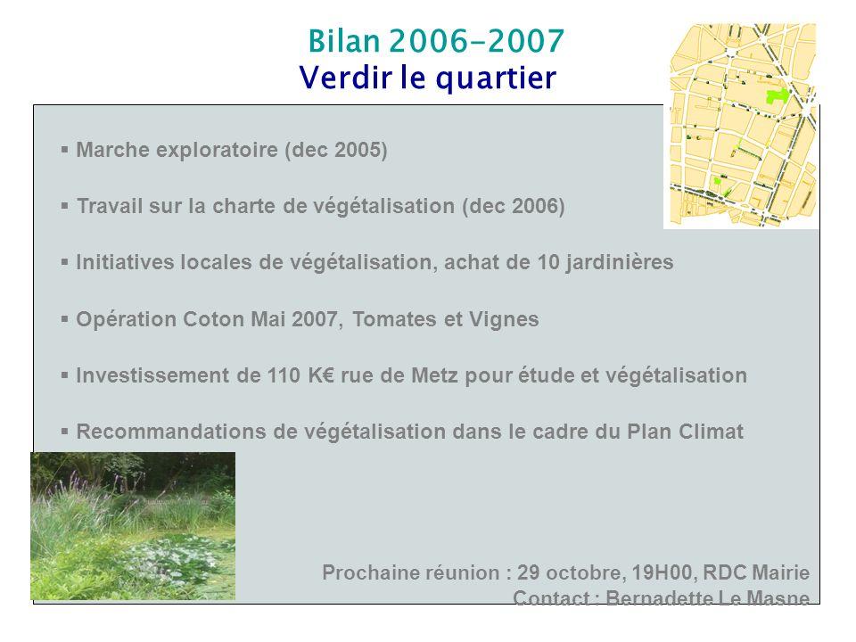 Bilan 2006-2007 Verdir le quartier Marche exploratoire (dec 2005) Travail sur la charte de végétalisation (dec 2006) Initiatives locales de végétalisa