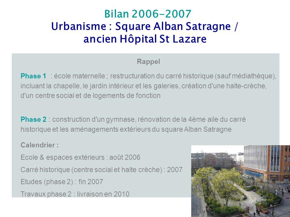 Bilan 2006-2007 Urbanisme : Square Alban Satragne / ancien Hôpital St Lazare Rappel Phase 1 : école maternelle ; restructuration du carré historique (
