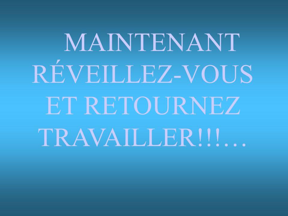 MAINTENANT RÉVEILLEZ-VOUS ET RETOURNEZ TRAVAILLER!!!…