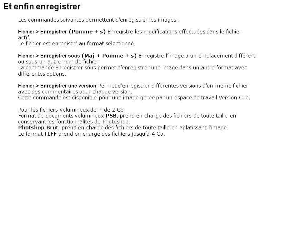 Et enfin enregistrer Les commandes suivantes permettent denregistrer les images : Fichier > Enregistrer (Pomme + s) Enregistre les modifications effec