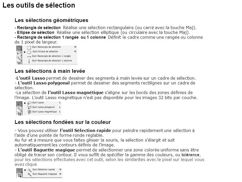 Les outils de sélection - Rectangle de sélection Réalise une sélection rectangulaire (ou carré avec la touche Maj). - Ellipse de sélection Réalise une