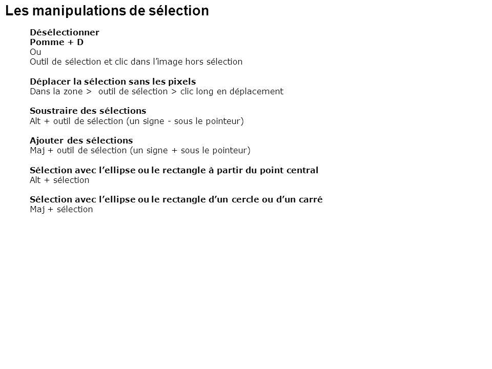 Les manipulations de sélection Désélectionner Pomme + D Ou Outil de sélection et clic dans limage hors sélection Déplacer la sélection sans les pixels