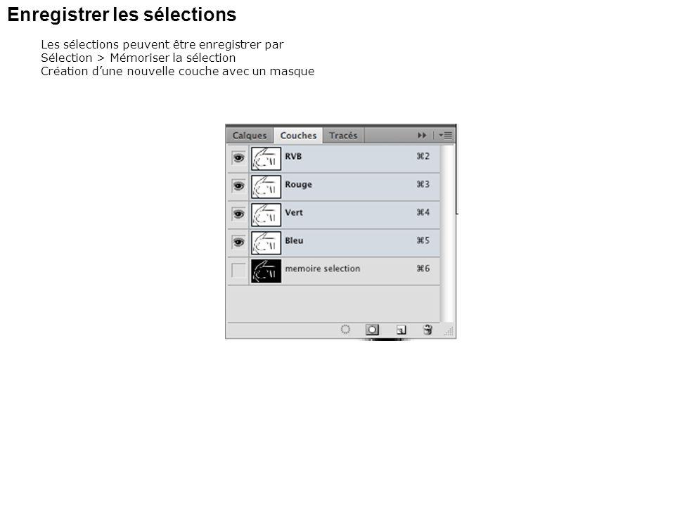 Enregistrer les sélections Les sélections peuvent être enregistrer par Sélection > Mémoriser la sélection Création dune nouvelle couche avec un masque