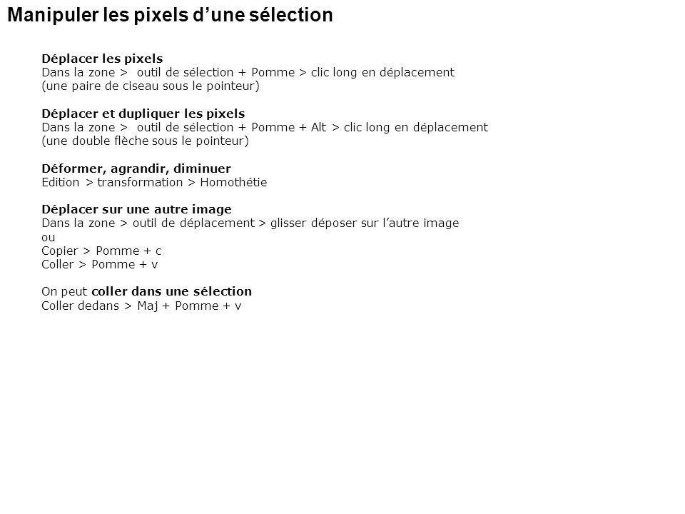 Manipuler les pixels dune sélection Déplacer les pixels Dans la zone > outil de sélection + Pomme > clic long en déplacement (une paire de ciseau sous