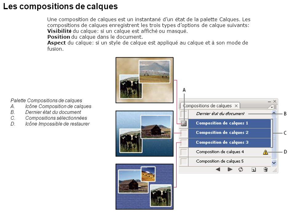 Les compositions de calques Une composition de calques est un instantan é dun état de la palette Calques. Les compositions de calques enregistrent les