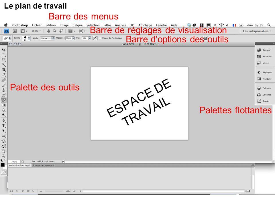 Le plan de travail ESPACE DE TRAVAIL Barre des menus Barre doptions des outils Palette des outils Palettes flottantes Barre de réglages de visualisati