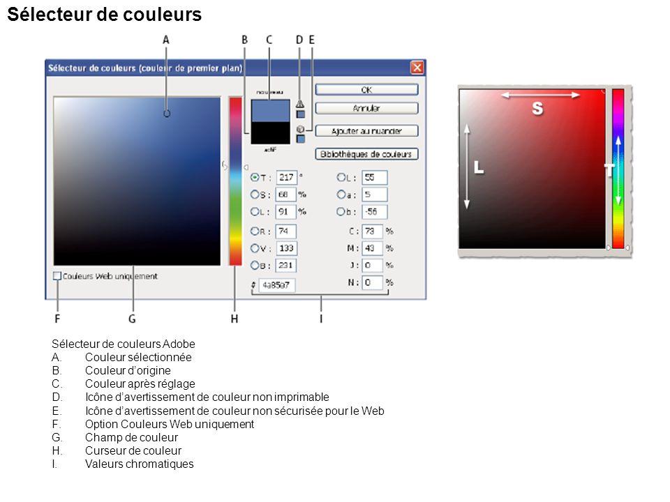 Sélecteur de couleurs Sélecteur de couleurs Adobe A.Couleur sélectionnée B.Couleur dorigine C.Couleur après réglage D.Icône davertissement de couleur