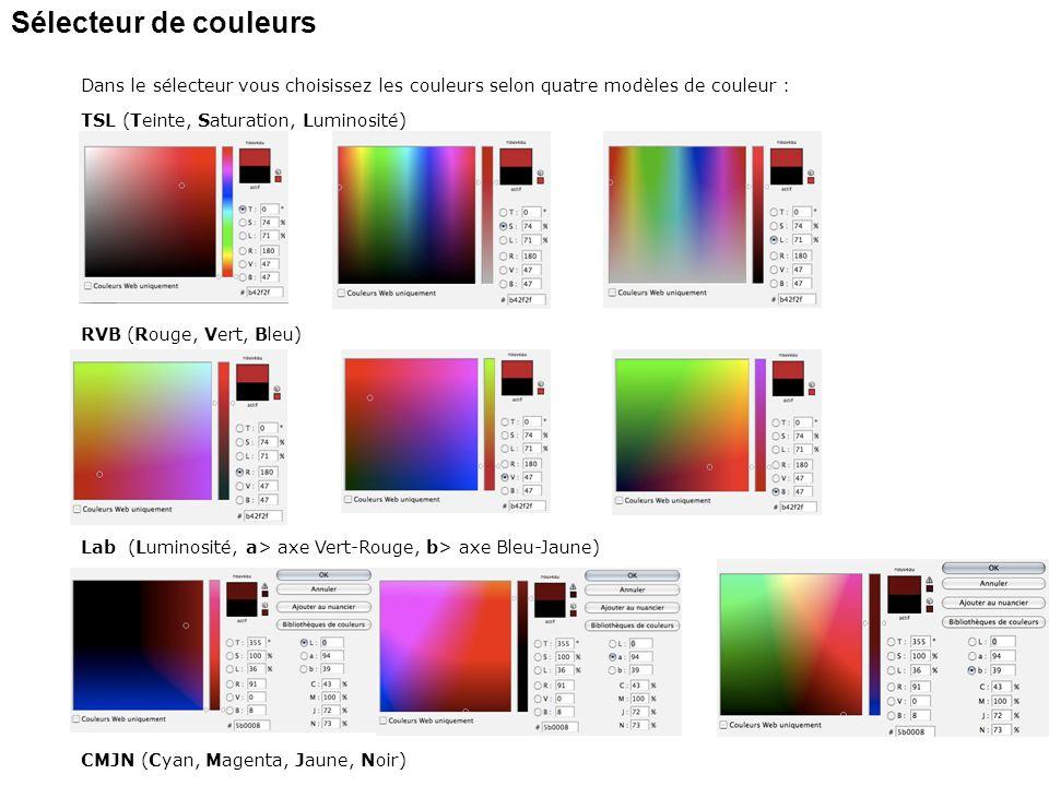 Sélecteur de couleurs Dans le sélecteur vous choisissez les couleurs selon quatre modèles de couleur : TSL (Teinte, Saturation, Luminosité) RVB (Rouge