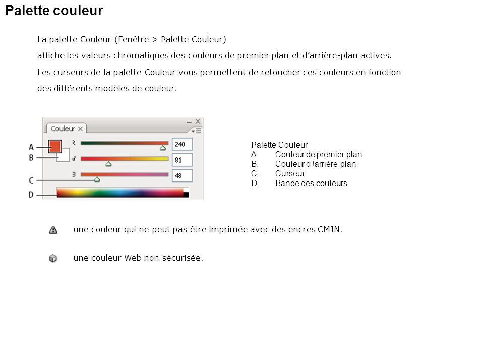 Palette couleur La palette Couleur (Fenêtre > Palette Couleur) affiche les valeurs chromatiques des couleurs de premier plan et darrière-plan actives.