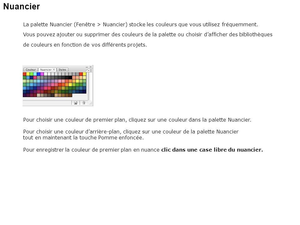 Nuancier La palette Nuancier (Fenêtre > Nuancier) stocke les couleurs que vous utilisez fréquemment. Vous pouvez ajouter ou supprimer des couleurs de